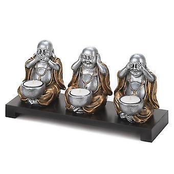 גלריית אור לדבר, לשמוע, לא לראות מחזיק נרות בודהה רשע, חבילה של 1