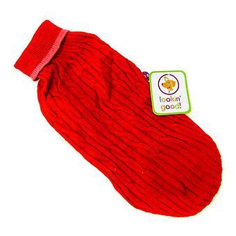 """Fashion Pet Cable Strick Hundepullover - Rot - Groß (19 """"-24"""" von der Halsbasis bis zum Schwanz)"""