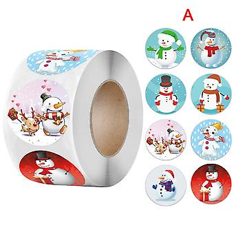 Pack Sticker Christmas Snowman Gift Pattern Stickers 1 Roll 500 Posts Christmas