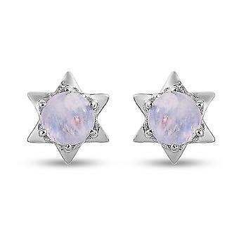 Rainbow Moonstone Stud fülbevaló platina bevonatú ezüst ajándék neki 1.75ct