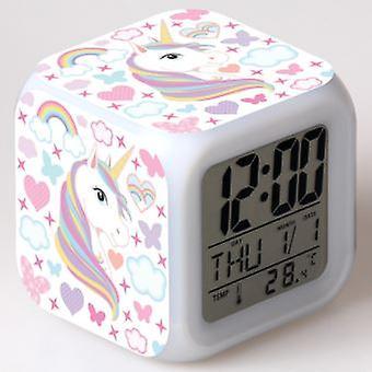 Einhorn Wecker, geeignet für Kinder und Mädchen Zimmer, led digitalschlafzimmer Wecker, um einfach die Cube Wake Uhr