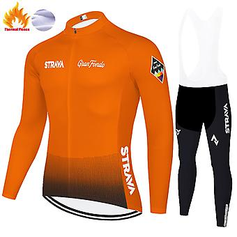 Strava Men's Cycling Suit Long Sleeve Sportswear Cycling Clothing Set + 3d Pants Trousers /yellow