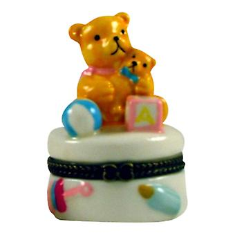 Teddy Bear Baby Bow Bottle Hinged Trinket Box phb