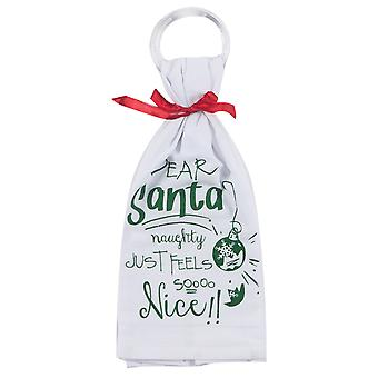Dear Santa Naughty Feels So Nice Krinkle Flour Sack Kitchen Dish Towel Kay Dee