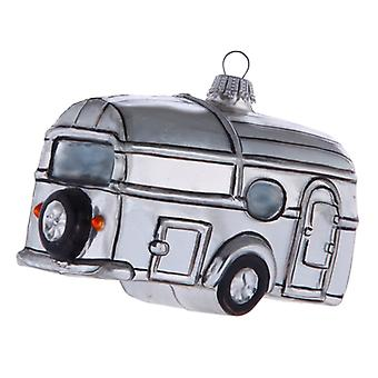 Travel Trailer RV Camper Campground Glass Holiday Christmas Ornament