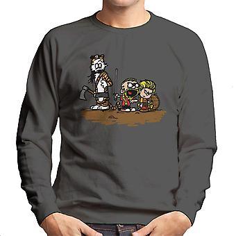 Calvin And Hobbes Vikings Ragnar Lothbrok Men's Sweatshirt