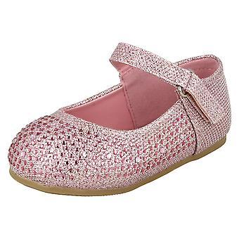 Girls Savannah Flat Diamante Shoes H2438