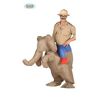 Elefante usando fantasia fantasia inflável de elefante de equitação com motor traje nas costas