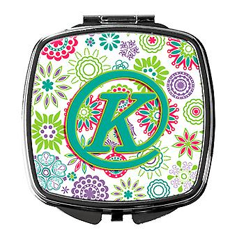 Letter K Flowers Pink Teal Green Initial Compact Mirror