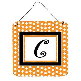 Kirjain C alkuperäistä monogrammi - oranssi Polkadots läpäisemätön roikkuu tulosteita