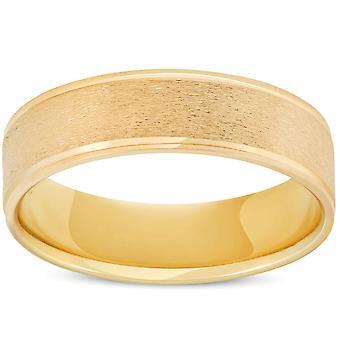 6mm Fırçalı Yuvarlak Cilalı Kenar 10K Sarı Altın Düğün Bandı