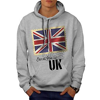 UK Flag Tourist Men GreyHoodie | Wellcoda
