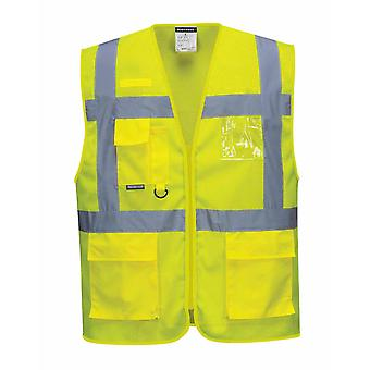 Portwest - Athens MeshAir HI-i-Vis Safety Workwear Executive Vest Yellow X-Small
