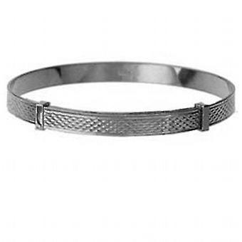 Silver 50mm diameter expanding baby Bangle with engine turned pattern