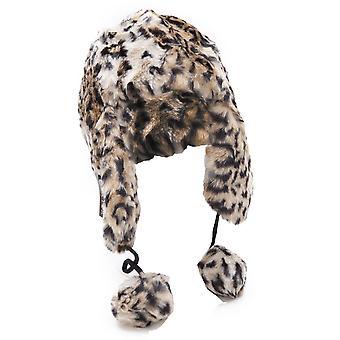 Ladies/Womens Leopard Print Faux Fur Thermal Trapper/Ski Hat With Pom Poms