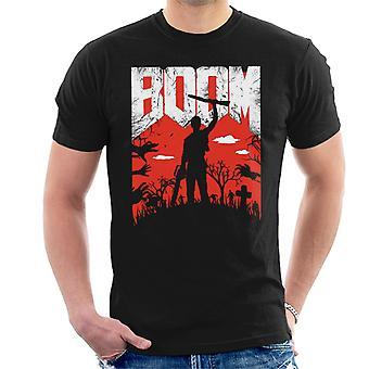 T-shirt cinza Vs mal morto Boom Doom fonte MASC