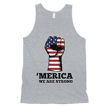 Merica We Strong Tank Top Mens Grey 4th Of July Tank Top For Gym