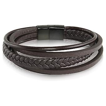 Skipper bracelet leather bracelet Brown magnet closure stainless 7231