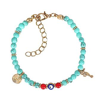 Amulette de Protection mauvais œil simulé des Accents rouge Turquoise hippocampe symbole magique Charms Bracelet