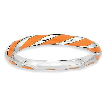 925 Sterling Silver Polished Rhodium plated Twisted Orange Enameled 2.4 x 2.0mm Stackable Ring Jewelry Gifts for Women -