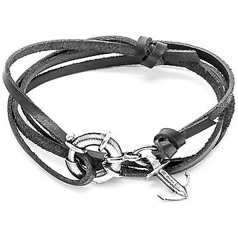 Âncora e tripulação Clyde prata e pulseira de couro - preto de carvão