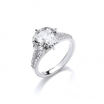 Cavendish French CZ and Sterling Silver Split Shoulder Large Solitaire Ring