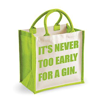 Medium Jute Bag It's Never Too Early For A Gin Green Bag