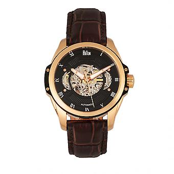 Reign Henley Automatic Semi-Skeleton Leather-Band Watch - Rose Gold/Brown