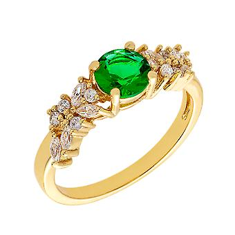 Bertha Juliet Collection Women's 18k YG Plated Green Cluster Fashion Ring Size 5