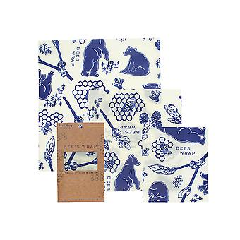 Set of 3 Assorted Size Beeswax Wraps, Bees and Bears
