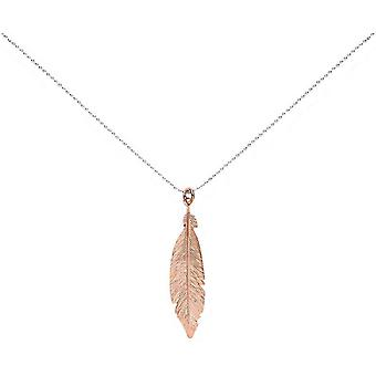 Bella Single Feather Pendant - Silver/Rose Gold