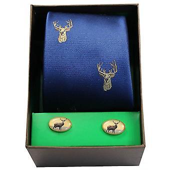 David Van Hagen Stags Head Tie and Cufflink Set - Royal Blue