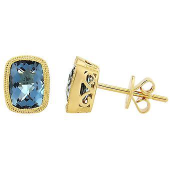 Mark Milton Topaz Stud Earrings - Blue/Gold