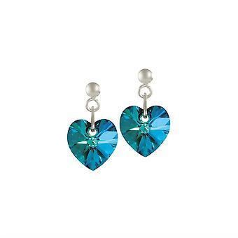 Upuść wieczne kolekcji Amour Bermuda Blue kryształowe serce srebro kolczyki
