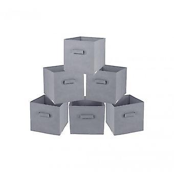 Møbler Rebecca sæt 6 PZ boks handske boks grå stof folde 26x28x26