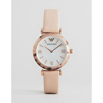 Emporio Armani Ar11004 Beige Leather Strap Ladies Watch