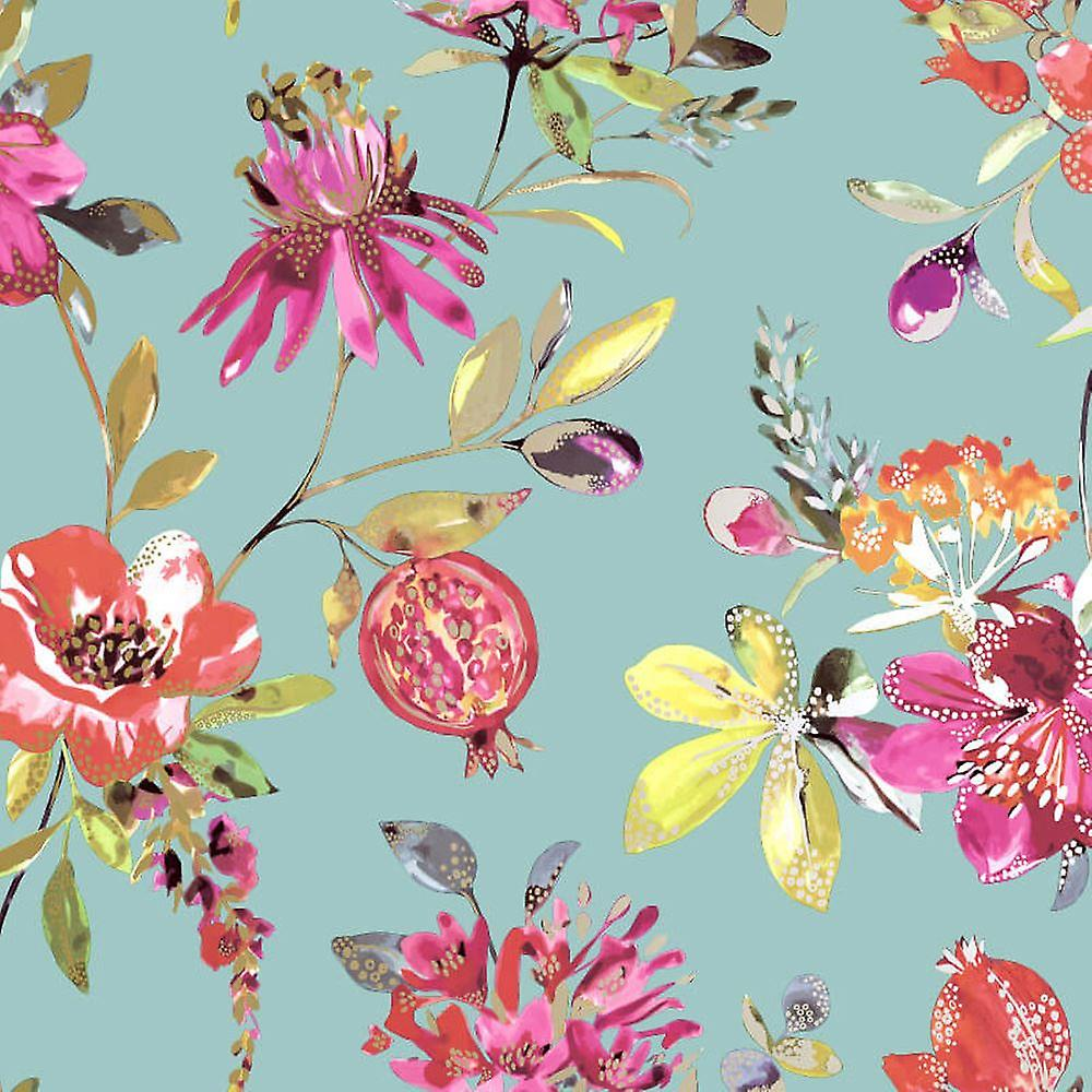 Holden Decor Melgrano Floral Flowers Botanical Teal Gold Metallic Wallpaper