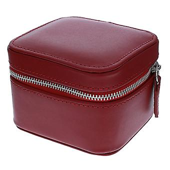 Mele Traveller Red Bonded Leather Small Square Jewellery Case Ideal For travel 717R