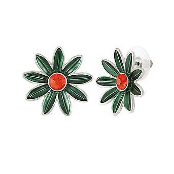 Eternal Collection Summertime Green Enamel Crystal Silver Tone Stud Pierced Earrings