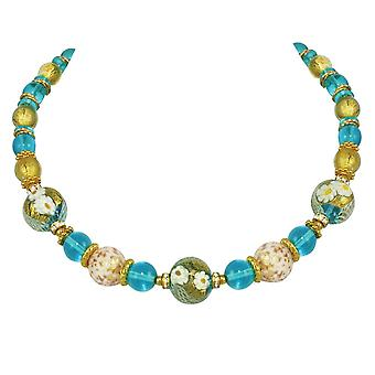 Eternal Collection Caravella Aqua And Gold Venetian Murano Glass Gold Tone Necklace