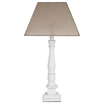 Premier Home Maine Candlestick Table Lamp, Fabric + PVC, Wood, White