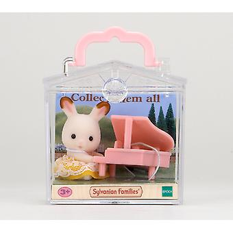 Valisette de familles sylvanian Rabbit avec Piano bébé