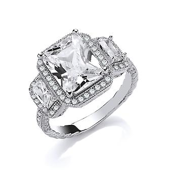 Jewelco London Ladies Rhodium Plated Silver white Emerald-Cut CZ Shoulder-Set Halo Solitaire Engagement Ring