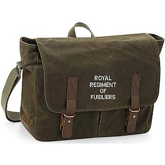 Royal Regiment Of Fusiliers Text - Licensed British Army Embroidered Waxed Canvas Messenger Bag