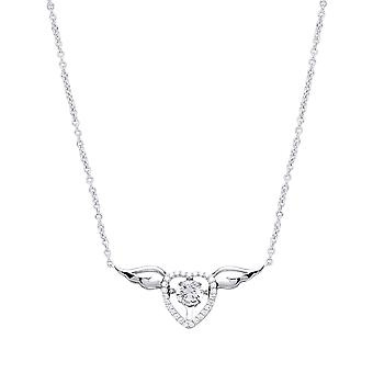 Jewelco Londen dames rhodium plated zilver wit ronde CZ Love hart Angel Wings Charm Necklace 15 + 2 inch