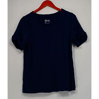 Denim & Co. Scoop Neck Kurzarm-Top mit Krawatte Detail blau