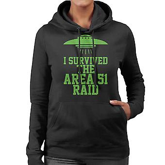I Survived The Area 51 Raid Neon Women's Hooded Sweatshirt