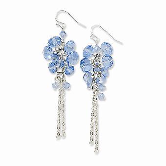 Silver ton Shepherd krok Blue Crystal Pärla Cluster Long Drop Dingla Örhängen Smycken Gåvor för kvinnor