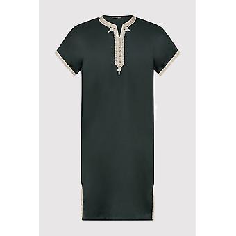 Gandoura yahya boy's short sleeve embroidered collarless robe thobe in green