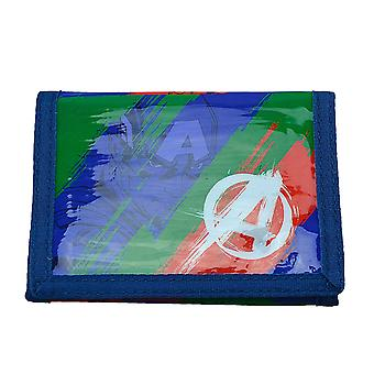 Avengers Splash Design Blue Red Green Tri-Fold Childrens Wallet Hook & Loop